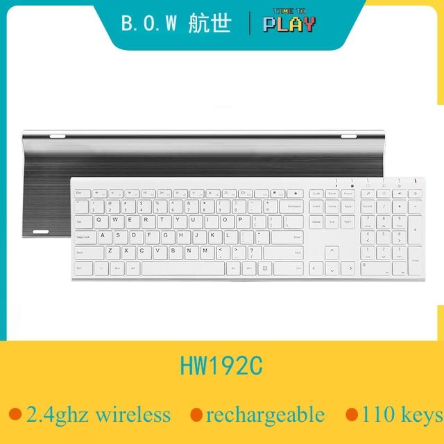 B.O.W سوبر رقيقة معدنية لاسلكية ضئيلة لوحة المفاتيح القابلة لإعادة الشحن ، تصميم مريح وصمت لوحة مفاتيح كاملة الحجم للكمبيوتر حاسوب شخصي مكتبي