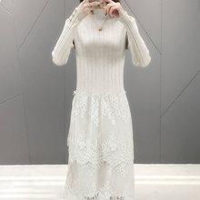 2019 Autumn Winter Half Turtleneck Long Lace Sweaters Dresses Women Slim Knitted Dress Female Loose Casual Korean