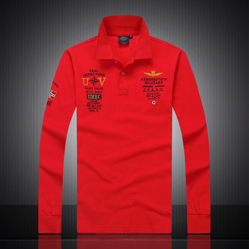 US Men Air Army Polo Shirt High Quality Brands Brave Eagle Long Sleeve Lapels Air Force One Red White Knit Cotton Sports Tees