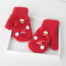 Children Kids Christmas Warm Knitted Cotton Gloves Winter Snow Printed Baby Full Thicken Fashion Finger Gloves one Pair new(China)