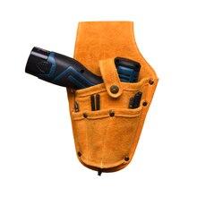 Inek derisi matkap kılıfı bel alet çantası elektrikli bel kemeri alet çantası çantası için kemer ile elektrikli matkap elektrikli tornavida