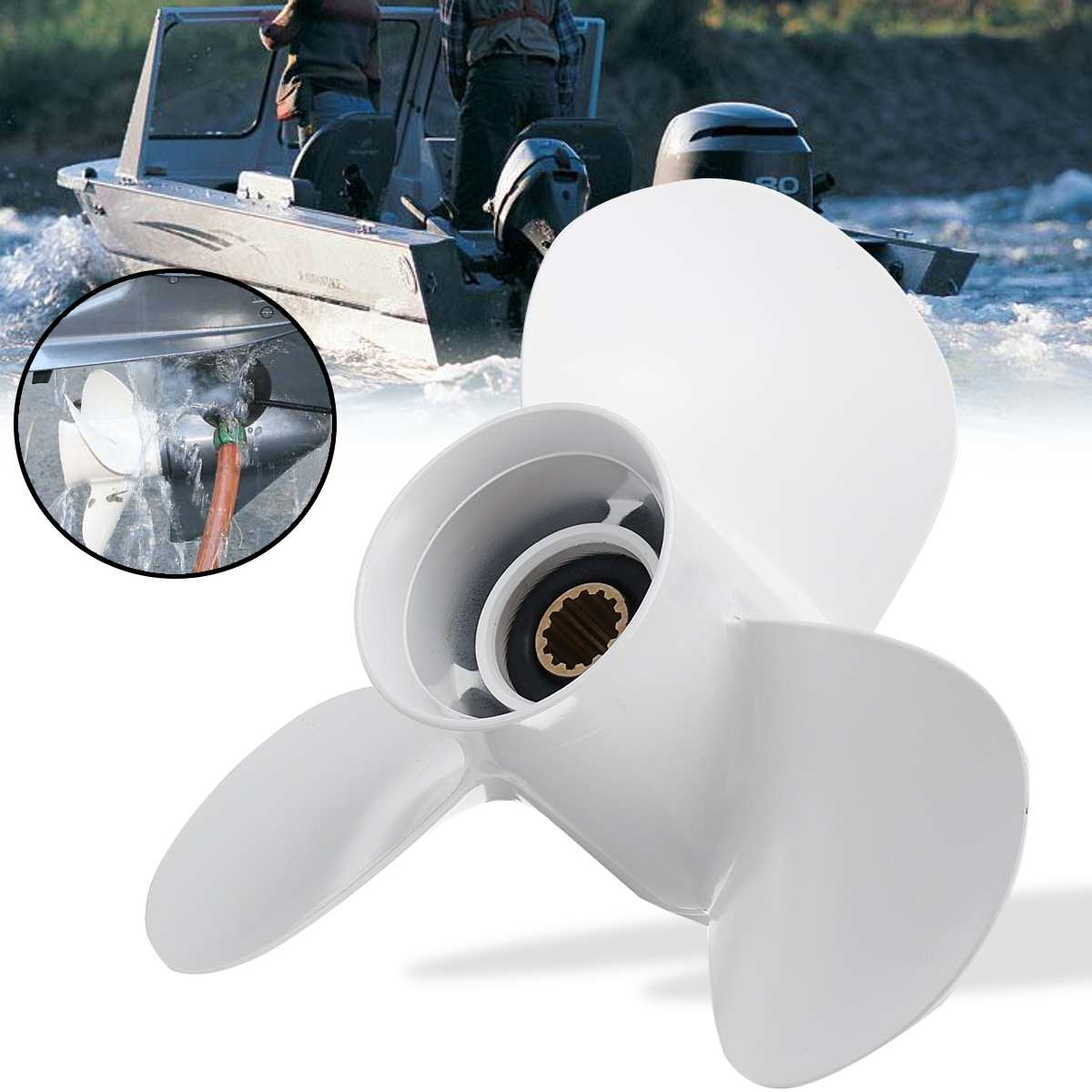 Audew 11 1/4 X 14 Boat Outboard Propeller For Yamaha 25-60HP 663-45958-01-EL Marine Propeller 13 Spline Tooth White Aluminum