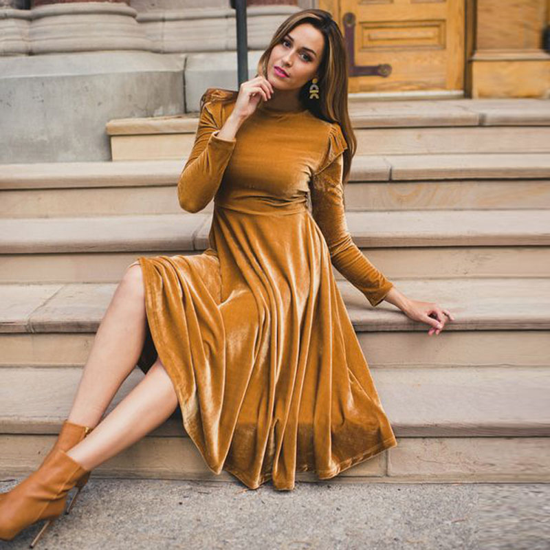 3XL Bodycon Women Velvet Dress Fashion Autumn Winter Dress Casual Round Collar Long Sleeve A Line Midi Dresses Elegant Vestidos