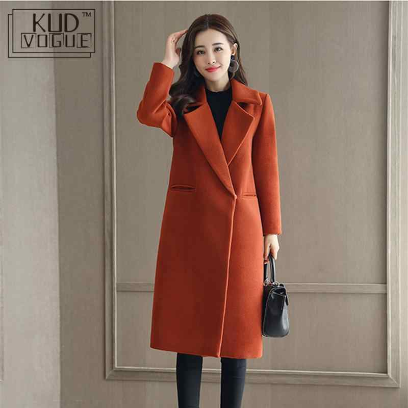Spring Autumn Wool Coat For Women Long Woolen Coat One Button Slim Type Female Autumn Thin Wool Coats Jacket Parka