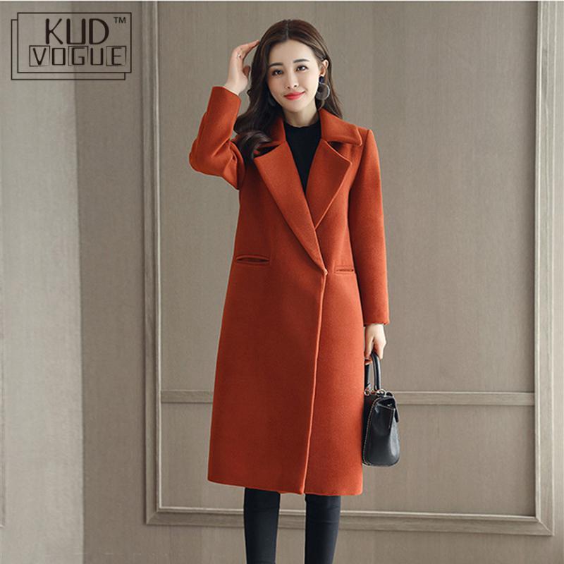 Spring Autumn Wool Coat For Women Long Woolen Coat One Button Slim Type Female Autumn Thin Wool Coats Jacket Parka