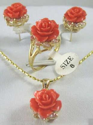+ + + 902 новые ювелирные изделия тибетская Роза Коралл серьга-подвеска цветок кольцо набор ring7-9