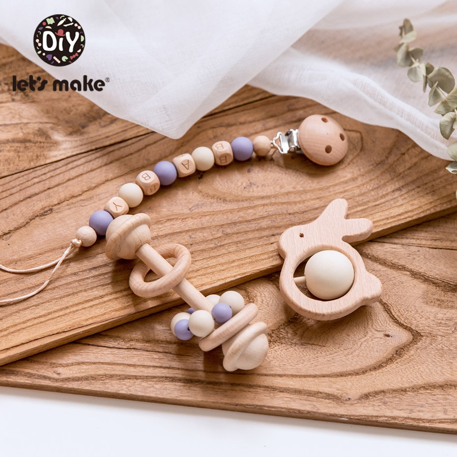 Let's Make 3pc/set Baby Pacifier Chain Holder Foer Nipples Beech Wood Baby Rattle Crib Mobiles Stroller Accessories Baby Toys