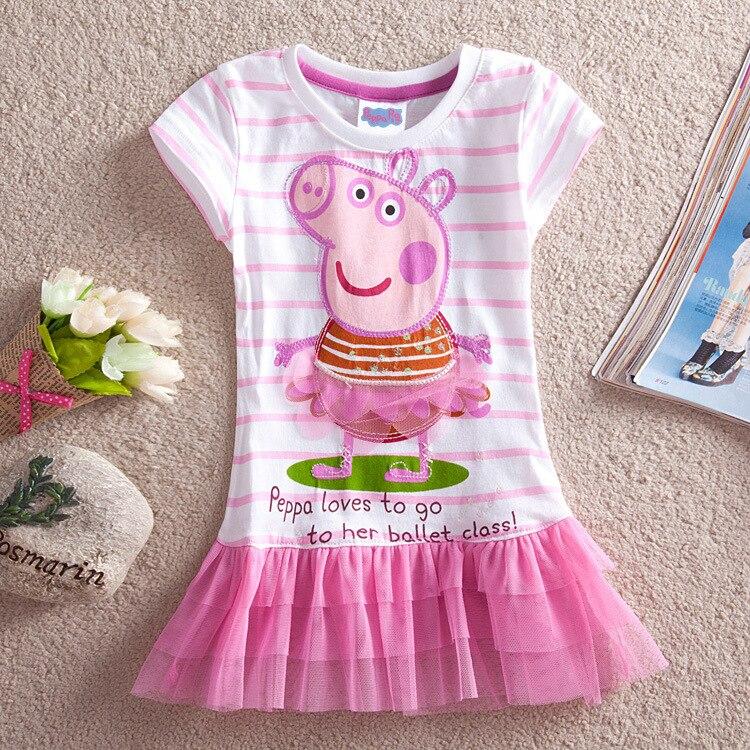 Peppa Pig Girls Dress 2020 Summer New Children's Skirt Cotton Cartoon Dolls Girls Striped Embroidered Princess Dress