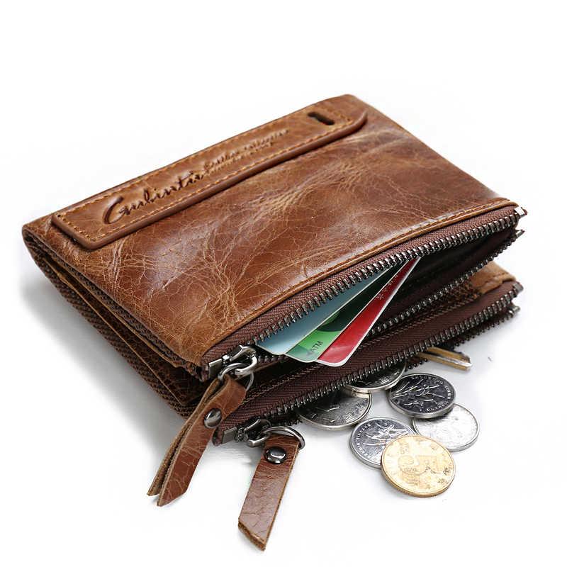 شحن مجاني 100% جلد أصلي للرجال محفظة محفظة نسائية للعملات المعدنية الصغيرة حامل بطاقة صغيرة سلسلة محفظة Portomonee الذكور Walet الجيب