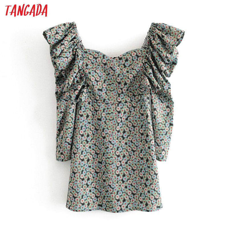 Tangada Fashion Women Flowers Print Mini Dress Backless Puff Long Sleeve Ladies Vintage Short Dress Vestidos 3H255