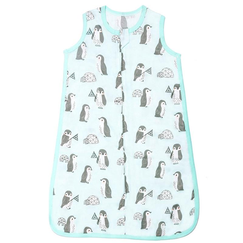 Baby Muslin Sleeping Bag Soft Bamboo Fiber 2-Layers Sleeveless Vest Jumpsuit Muslin Blanket Quilt For Toddler Bedding Sleepsacks