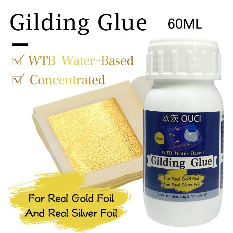 Золотой клей для золотых листьев, 100 мл/60 мл, клей на водной основе для золотых листов фольги, клей для золотых листьев, клей для золотых листь...