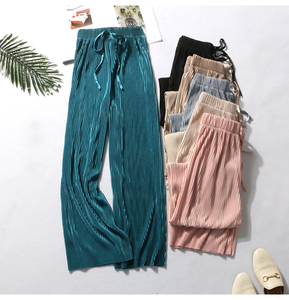 Summer Wide Leg Pants For Women Casual Elastic High Waist 2020 New Fashion Loose Long Pants Pleated Pant Trousers Femme
