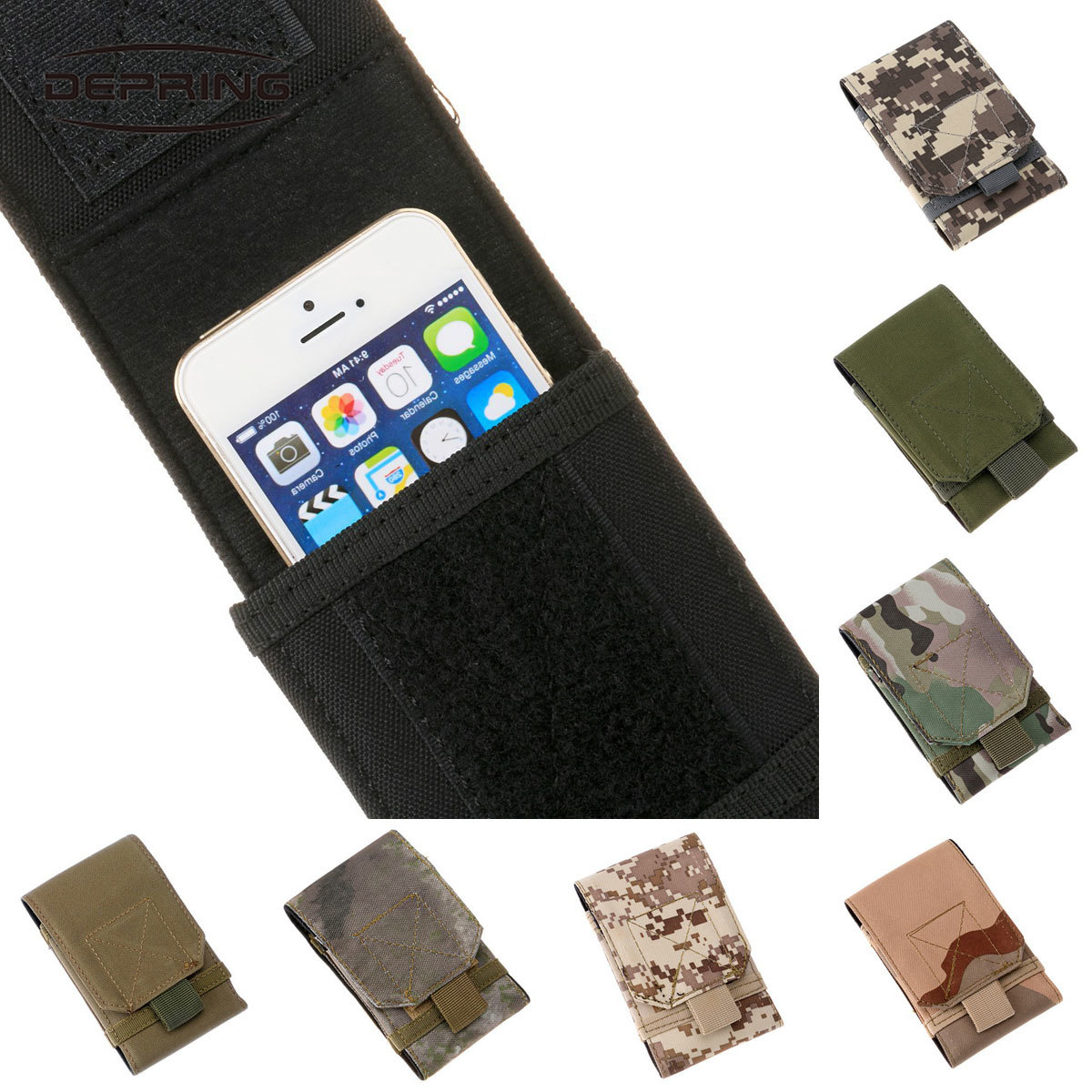 5.5 Inch Military MOLLE Carrying Bag Cell Phone Pouch Waist Pack Pouch Pocket For Outdoor Sports Nylon Utility Hunting Bag