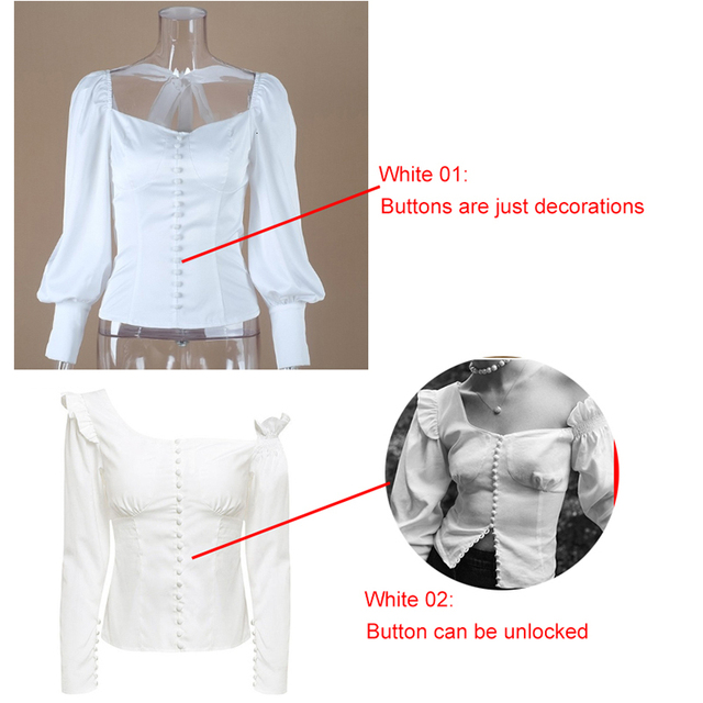 Isiksus Square Collar White Tunic Women Blouse Shirt Elegant Lantern Sleeve Tops Ladies Office Blouses Casual Slim Button BS045 2