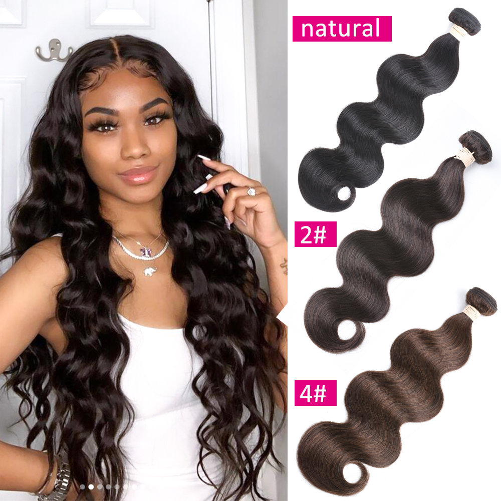 BEAUDIVA Brown Brazilian Body Wave Hair Bundles  Remy Human Hair Extensions 4# 2# Natural Color Brazilian Hair Weave Bundles