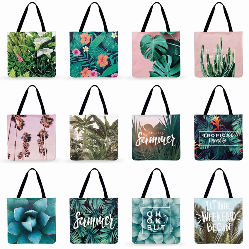Women Shoulder Bag Tropical Plant Printing Tote Bag Linen Febric Casual Tote Reusable Beach Bags Foldable Shopping Bag