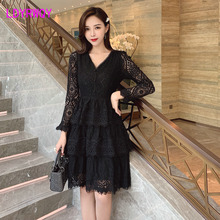 2019 autumn new ladies V-neck long-sleeved bottoming waist was thin cake lace dress female Knee-Length