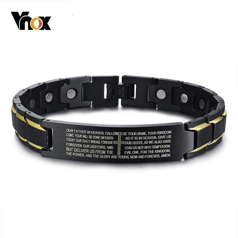 Vnox casual ímã pulseiras para homens gravado bíblia cruz de aço inoxidável energia bio masculino pulseira personalizado jóias presente