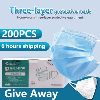 100PCS 3 Layer Nonwove Ply Filter Disposable Surgical Mask Mouth Face Mask  Anti Dust Meltblown Earloop Surgical Medical Mask