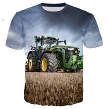 Büyük boy 3D baskı T Shirt erkekler Hip Hop Streetwear traktör araba baskı tişörtlü erkek