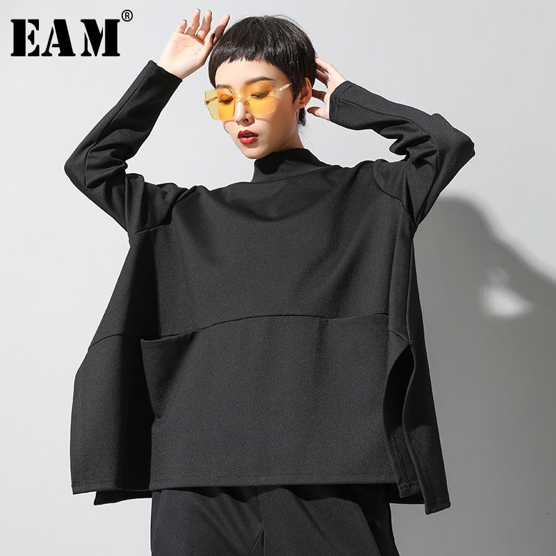 [EAM] Loose Fit Oversized Black Sweatshirt New High Collar Long Sleeve Women Big Size Fashion Tide Spring Autumn 2020 19A-a123