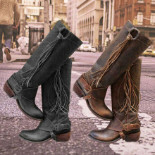 Women knee high boots Long Boots PU Leather Shoes Knee Length Tassel Low Heels High Bootie Vintage Casual Boots chaussures femme