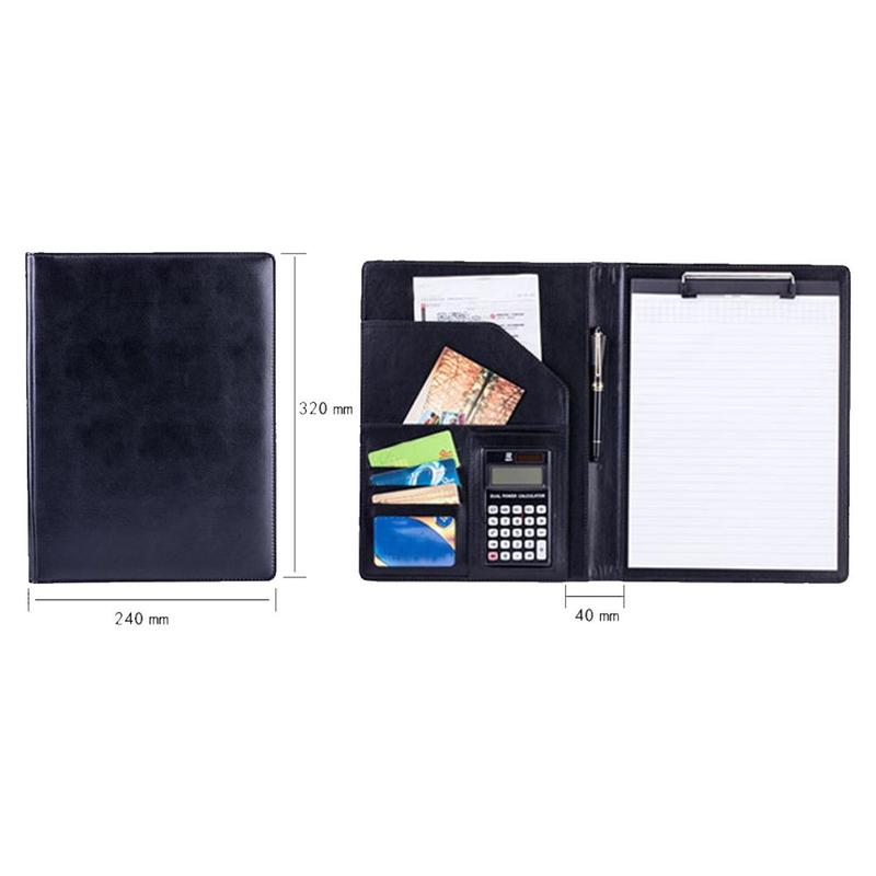 1pc Pu Leather File Folder With Mini Calculator Business Folder Documents Business Office Supplies Organizer Stationery Fil V0B8