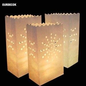 Image 4 - 50 Pcs 25cm לבן נייר הפנסים נרות תיק עבור LED אור מפיון לב רומנטי יום הולדת מסיבת חתונת אירוע מנגל קישוט