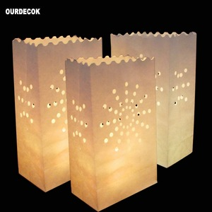 Image 4 - 50 Pcs 25cm White Paper Lantern Candle Bag For LED light Lampion Heart For Romantic Birthday Party Wedding Event BBQ Decoration