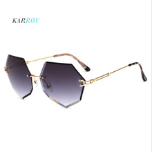 New Arrival Fashion Frameless Sunglasses Women Diamond Cut Irregular Men Glasses 2019 Eyeglasses