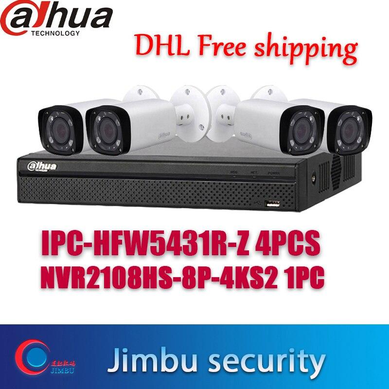 Seguridad dahua producto de la mezcla de 4K cctv kit NVR2108HS-8P-4KS2 8CH 8POE y IPC-HFW5431R-Z 4 Uds cámara ip POE ONVIF