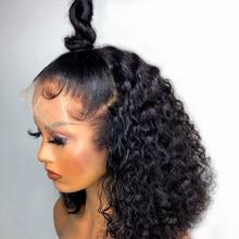 Perruque Lace Front Wig brésilienne Remy, cheveux naturels, coupe au carré, Deep Wave, pre-plucked, 4x4, 13x4, densité 180%
