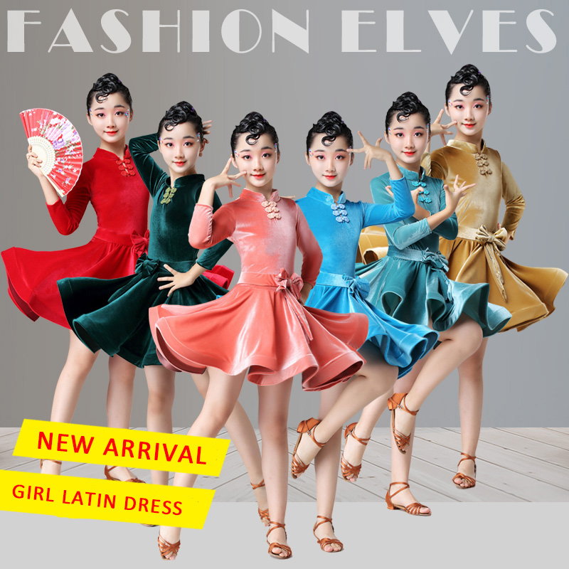 Classical Children Latin Dance Dress Long Sleeves Competition Dancing Dresses For Girls Cha Cha Samba Rumba Stage Outfits DL5176