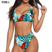 FORUDESIGNS 2020 Tropical Palm Leaves Bandage Bikini Set Print Push up Swimwear Female Brazilian Bikini Set Biquini Bathing Suit цена 2017