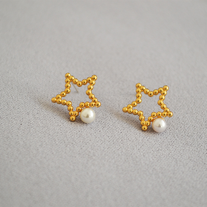 925 silvercolor needle hollowed out star Pearl simple temperament versatile super fairy daily commuting earrings earrings female