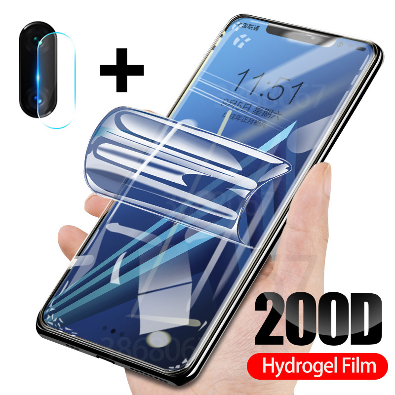 2-in-1 Screen Protector For Samsung Galaxy A7 A9 J7 J8 2018 Tempered Camera Glass A70 A50 A6 A8 J4 Plus Soft Hydrogel Film