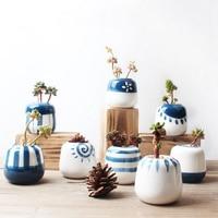 Set of 8 Original Design Mini Ceramic Succulent Plant Pot Handmade Porcelain Planter Home Decor Flower Pot Bonsai Planter