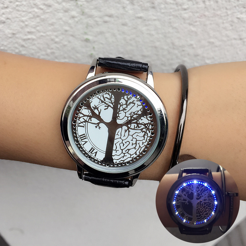 Men Led Watch Touch Screen Watches Unique Watch With Tree Pattern Simple Black Dial 60 Blue Lights Watch Leather Reloj Hombre