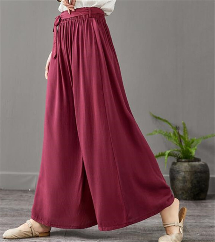 Women's Summer Casual  Wide Leg Pants Plus  Thin Cotton Linen Trousers Fashion Skirts Pantss