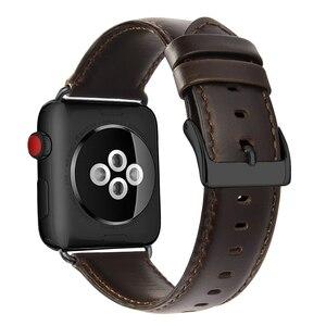 Image 3 - Scuro Marrone genuino della mucca Della Cinghia di Cuoio Per Apple Watch Band 42 millimetri 44 millimetri Viotoo Mens Cinturino di Vigilanza Per iWatch 5 4 band