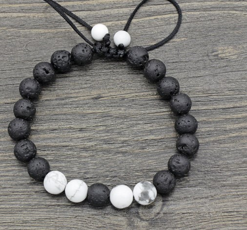 8mm fgdf2 adjusted Charm nature bead white Howlite black volcanic lava stone Bracelet women men gift Buddha Yoga