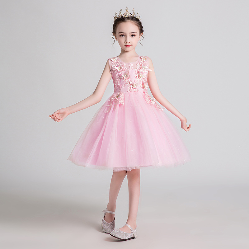 Girl'S Gown Princess Dress 2019 Summer New Style Butterfly Sequin Gauze Children Wedding Dress Skirt Costume Children