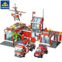 774 шт город пожарная станция пожарный грузовик автомобиль Juguetes Brinquedos образовательные DIY строительные блоки наборы Playmobil Кирпичи Детские игрушки