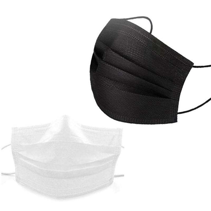 100 Black +100 White Disposable Dust Masks, Protective Gear, Meltblown Cloth and Breathable Civilian Masks