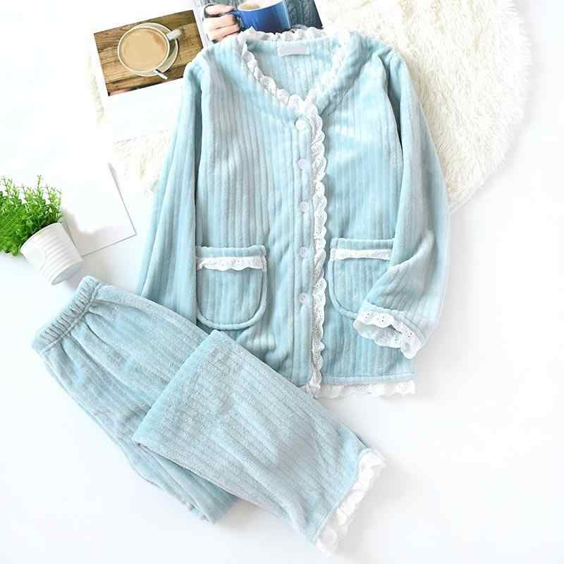 Fashion Warm Flannel Pajamas Set V-Neck Women Winter Autumn Pajama Sleepwear Lace Pink Pajamas Thick Warm Sleepwear