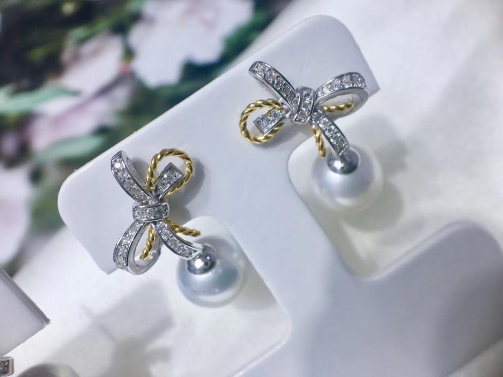 Fashion Bow 925 Sterling Silver Earrings Mountings Settings Parts Fittings Accessories For Pearls Beads Agate Jade Crystal