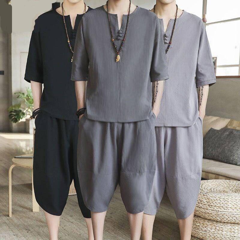 YASUGUOJI New Summer Casual Half-sleeve V-neck Pullover With Knee Length Pants 2 Piece Set Men Loose Men Shorts Set Male Romper
