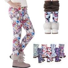 SheeCute/леггинсы для девочек плотные теплые штаны для малышей и детей детские штаны с цветочным принтом на осень-зиму SCW101