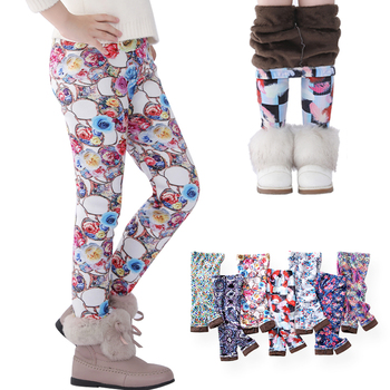 SheeCute Girls leggings Toddler & Kids Thick Warm Pants Children Winter Autumn Print Flower Pants SCW101 autumn and winter girls leggings plus velvet to keep warm candy colors children pants kids leggings for girls